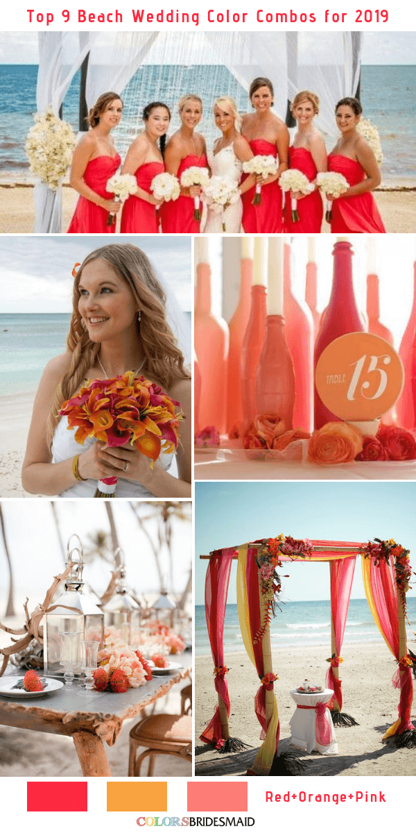 8cdff11168 Top 9 Beach Wedding Color Combos Ideas for 2019 - Red, Orange and Pink
