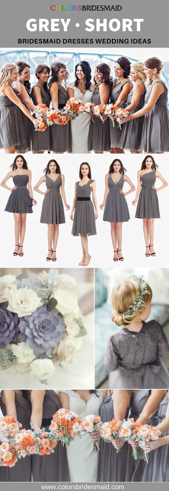 grey bridesmaid dresses short