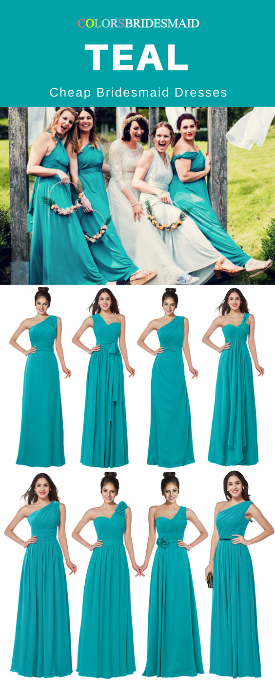teal bridesmaid dresses cheap