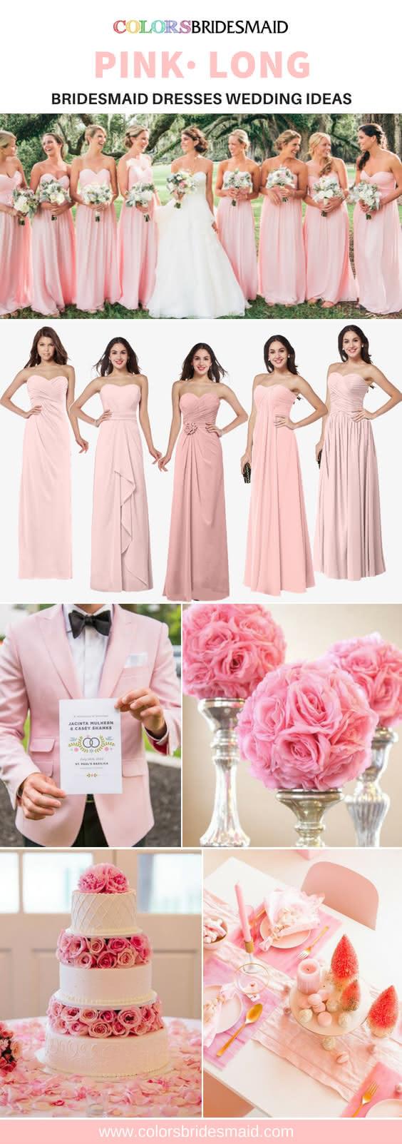 pink bridesmaid dresses long