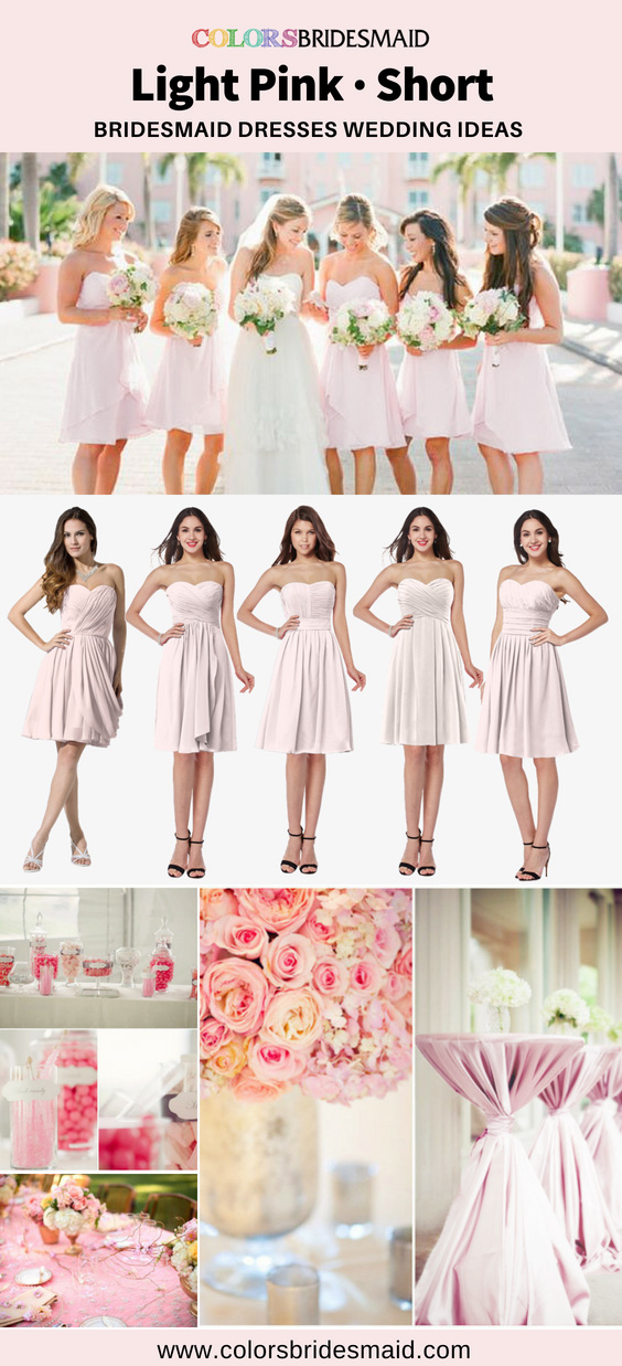 light pink short bridesmaid dresses