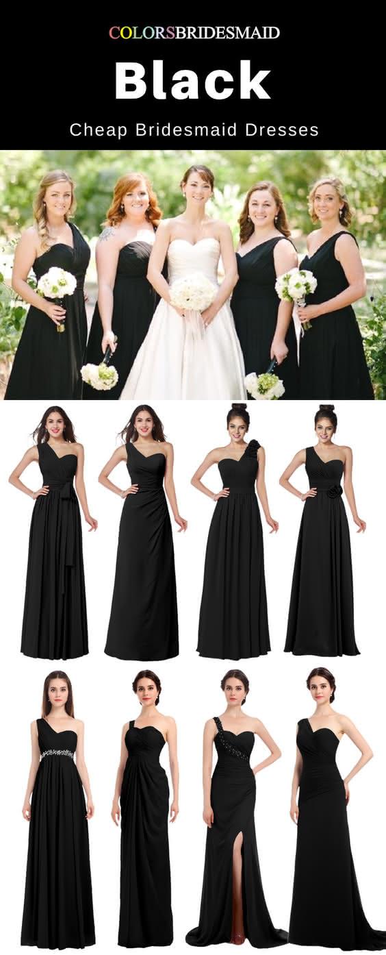 cheap black bridesmaid dresses