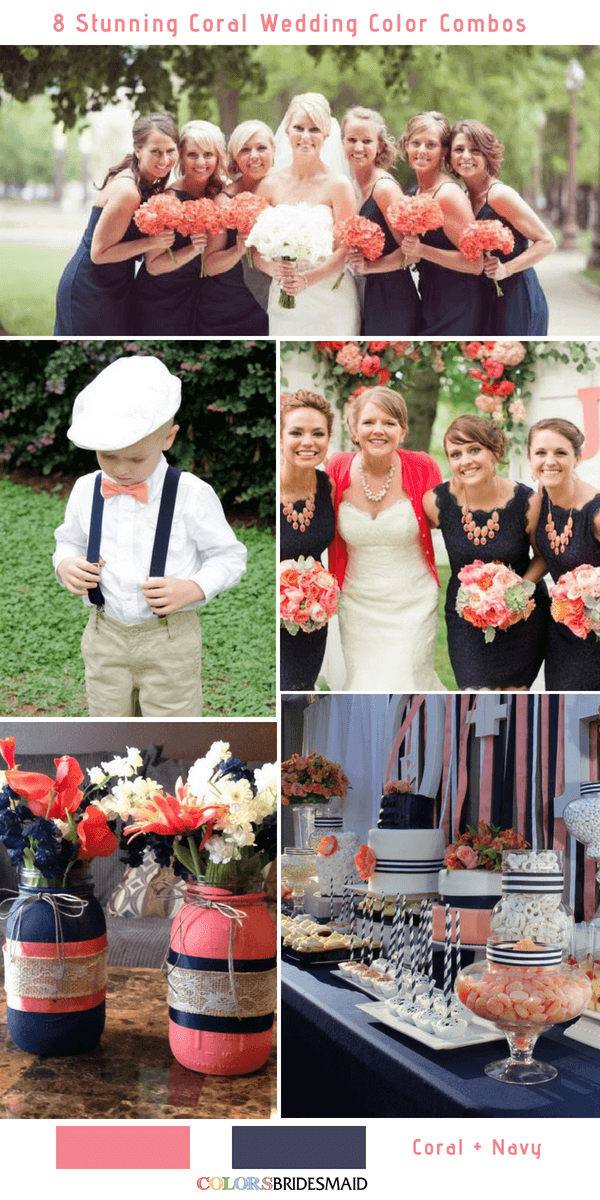 Navy And Coral Wedding.8 Stunning Coral Wedding Color Combinations You Ll Love
