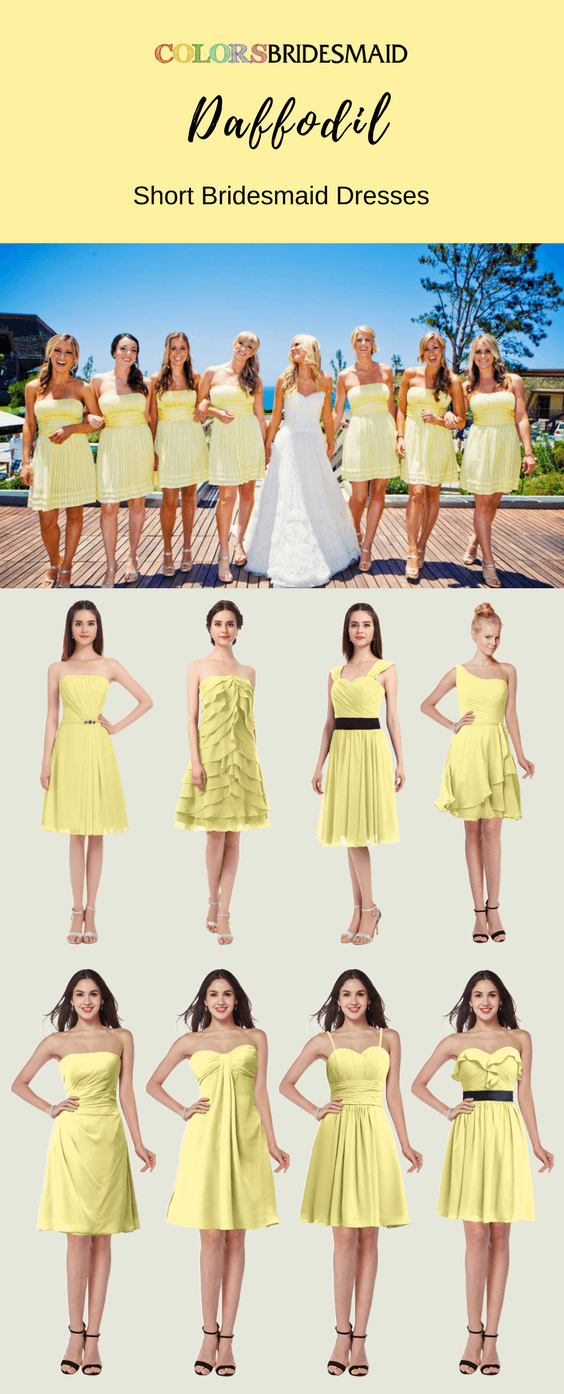 Daffodil Short Bridesmaid Dresses with Attractive Styles