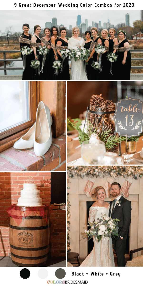 9 Great December Wedding Color Combos for 2020 - Black + White + Grey