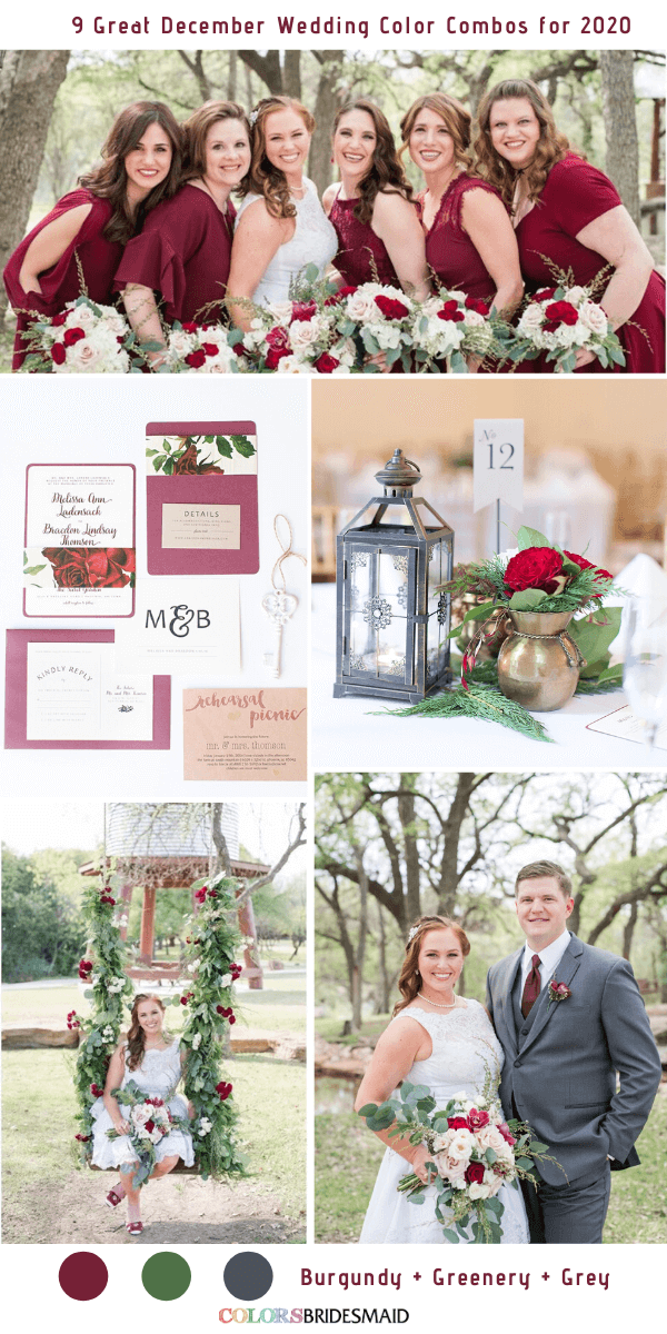 9 Great December Wedding Color Combos for 2020 - Burgundy + Greenery + Grey