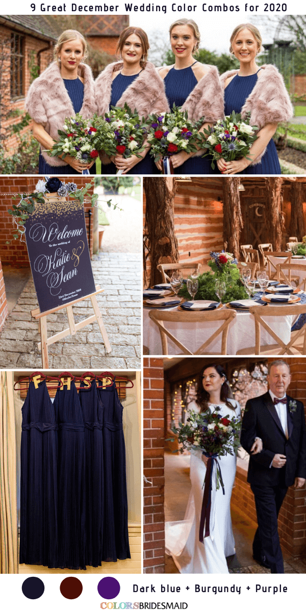 9 Great December Wedding Color Combos for 2020 - Dark Blue + Burgundy + Purple