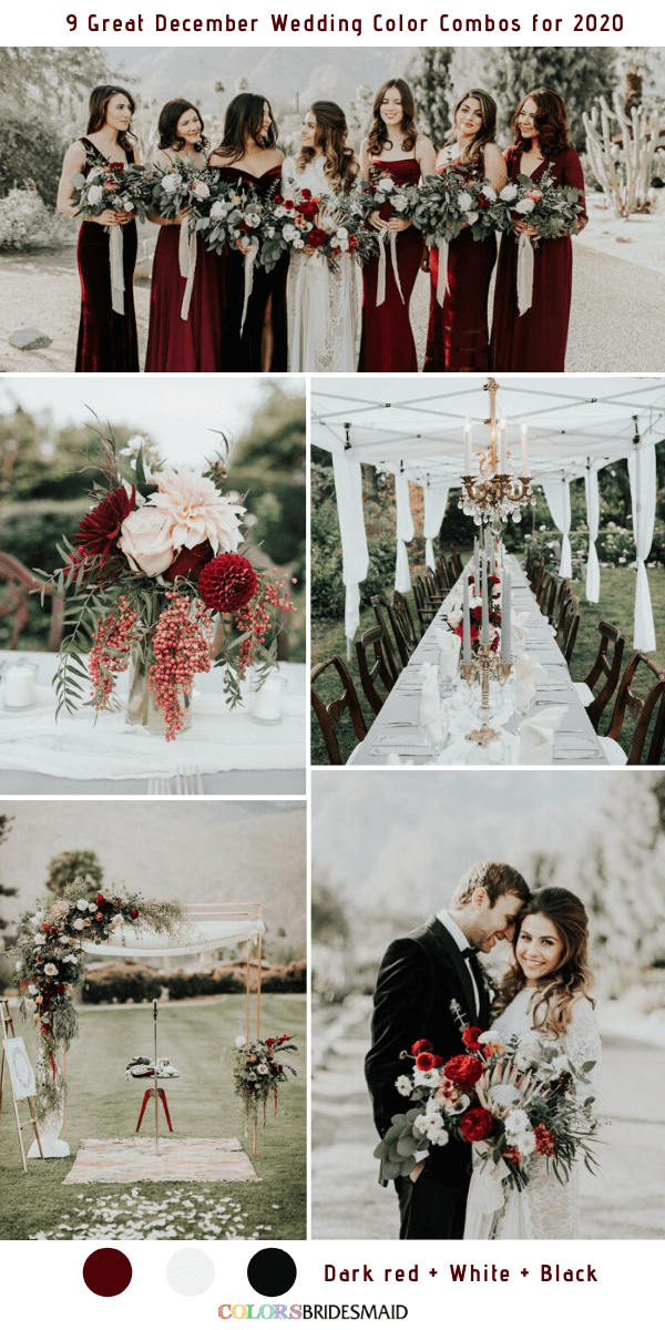 9 Great December Wedding Color Combos for 2020 - Dark Red + White + Black