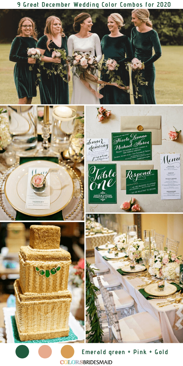 9 Great December Wedding Color Combos for 2020 - Emerald Green + Pink + Gold