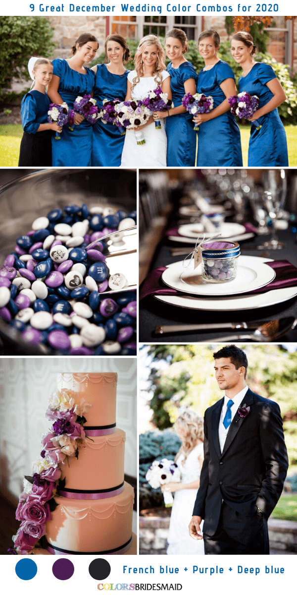 9 Great December Wedding Color Combos for 2020 - French Blue + Purple + Dark Blue