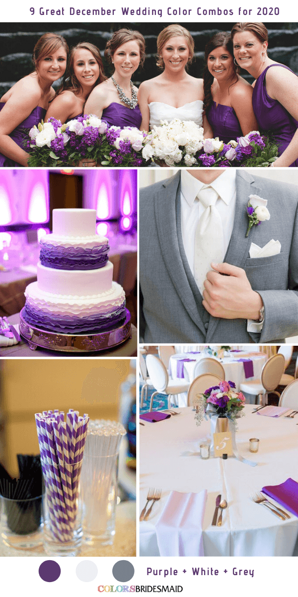 9 Great December Wedding Color Combos for 2020 - Purple + White + Grey