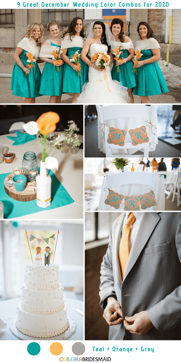 9 Great December Wedding Color Combos for 2020 - Teal + Orange + Grey