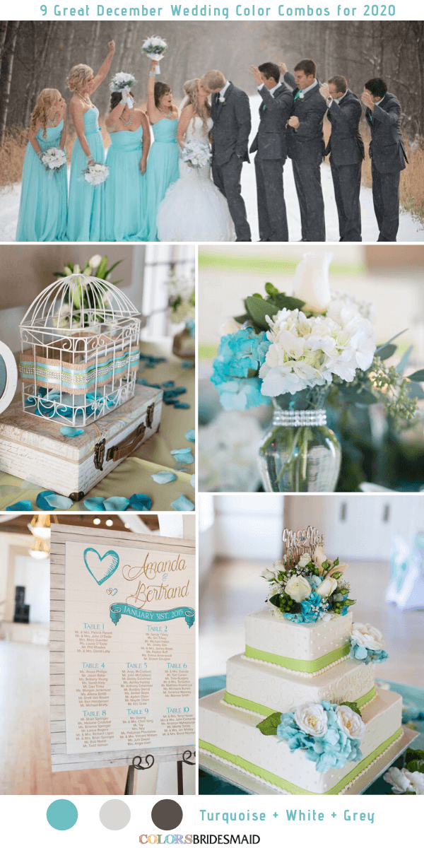 9 Great December Wedding Color Combos for 2020 - Turquoise + White + Grey