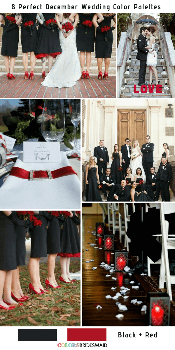 8 Perfect December Wedding Color Palettes Ideas - Black and Red