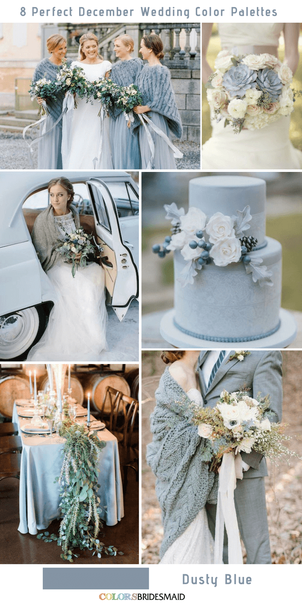8 Perfect December Wedding Color Palettes Ideas - Dusty Blue