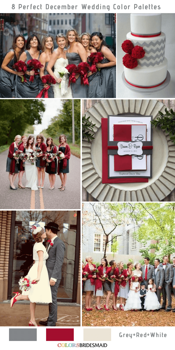 8 Perfect December Wedding Color Palettes Ideas for 2019- Grey, Red and White