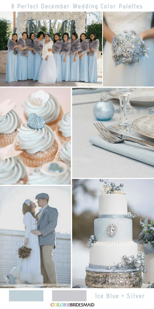 8 Perfect December Wedding Color Palettes Ideas for 2019- Ice Blue and Silver