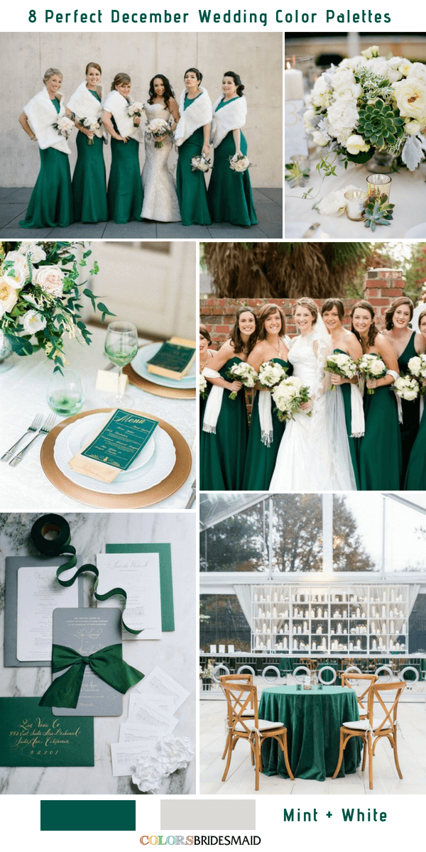 8 Perfect December Wedding Color Palettes Ideas for 2019- Mint and White