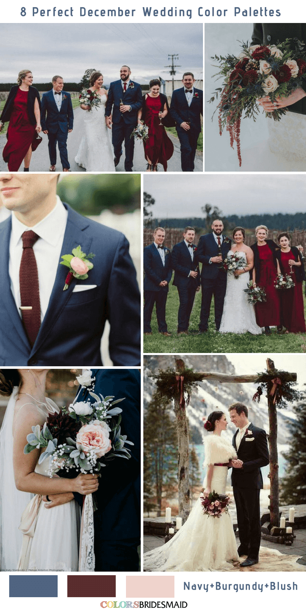 8 Perfect December Wedding Color Palettes Ideas for 2019 - Navy, Burgundy and Blush
