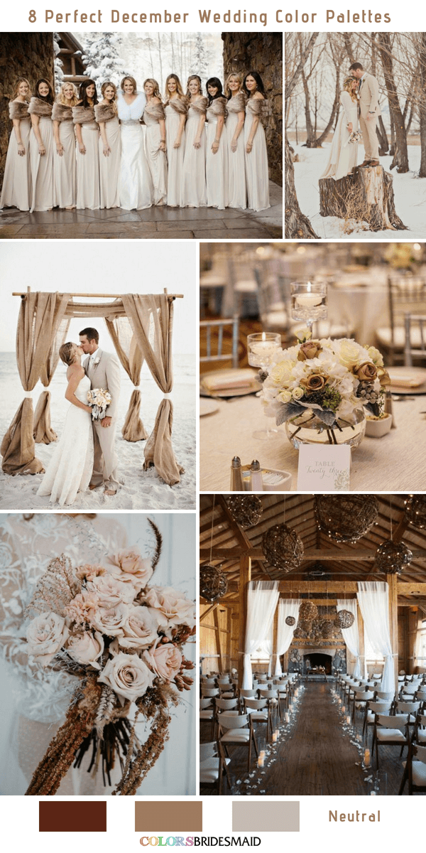 8 Perfect December Wedding Color Palettes Ideas for 2019- Neutral
