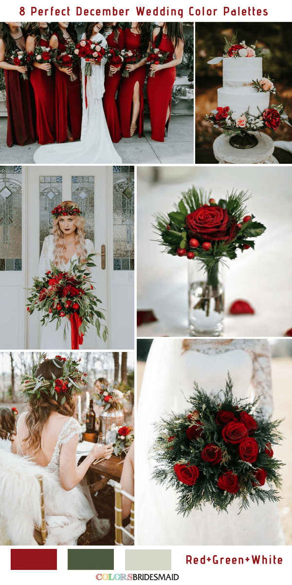 8 Perfect December Wedding Color Palettes Ideas for 2019 - Red, Green and White