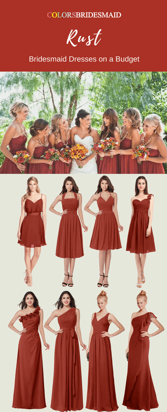 Rust Red Long and Short Bridesmaid Dresses