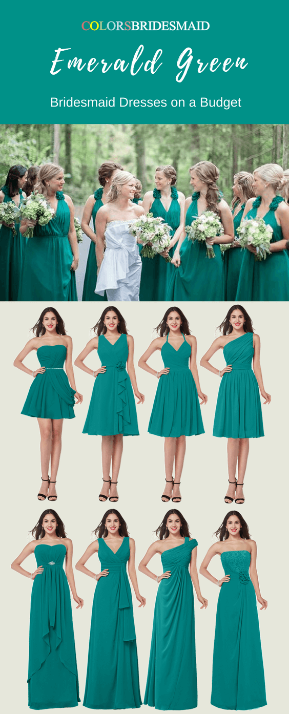 Eye-Catching Chiffon Bridesmaid Dresses in Emerald Green Color
