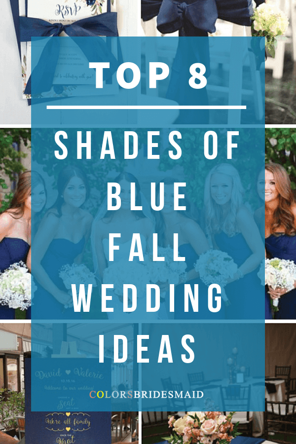 fall wedding color palettes in shades of blue