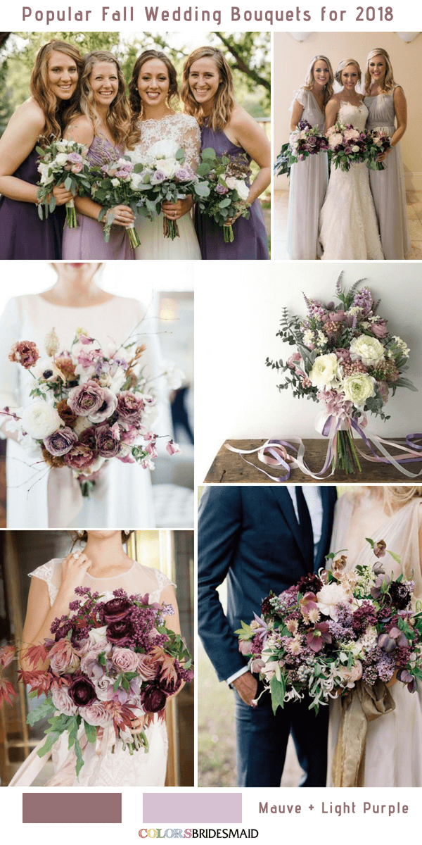 Fall Wedding Bouquets - Mauve and Light Purple