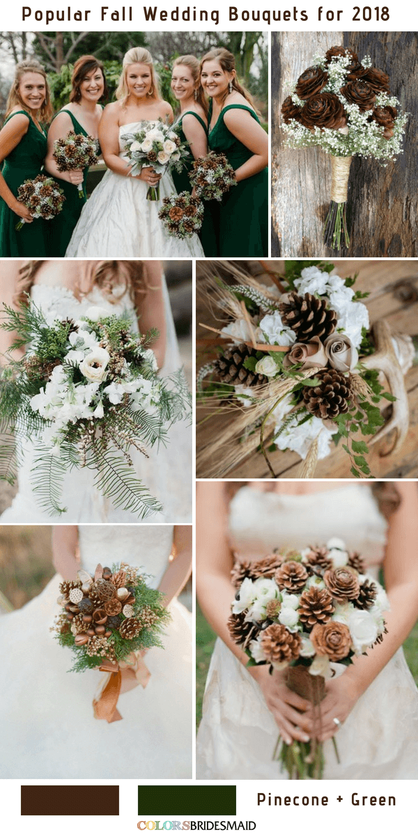Fall Wedding Bouquets - Pinecone and Green
