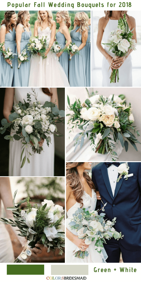 Fall Wedding Bouquets - Green and White