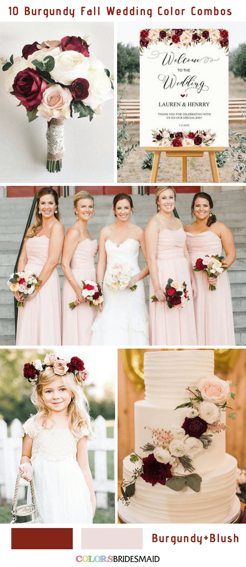 Fall wedding colors burgundy and blush