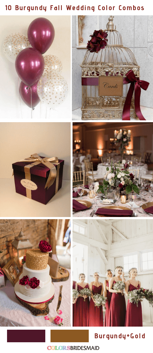 Fall wedding colors burgundy and gold