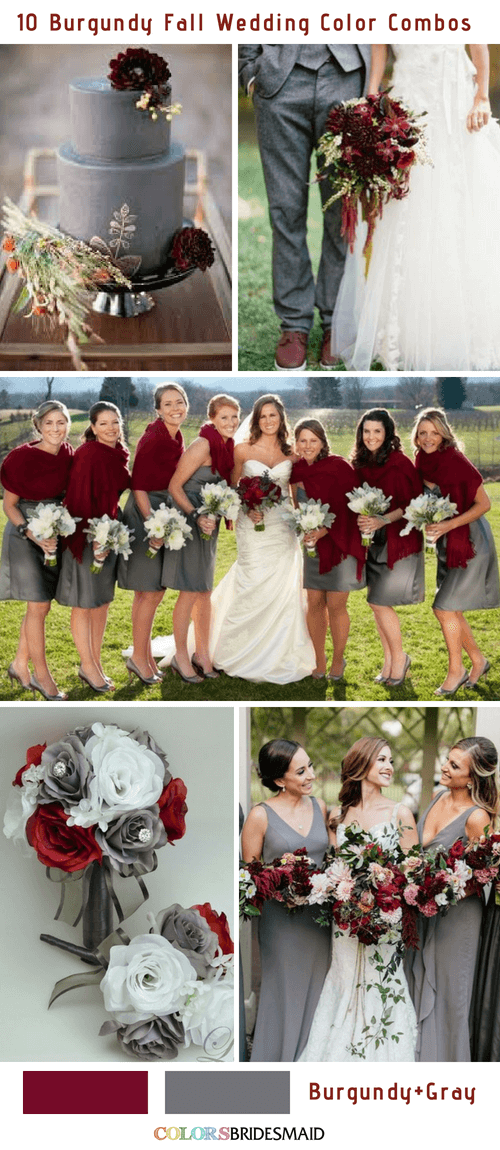 Fall Wedding Colors Burgundy And Gray