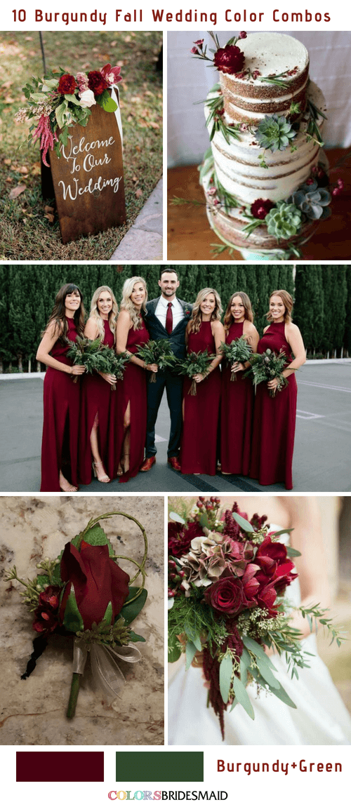 10 Popular Burgundy Fall Wedding Colors Combos