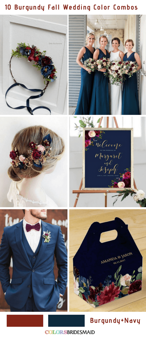 Fall wedding colors burgundy and navy blue