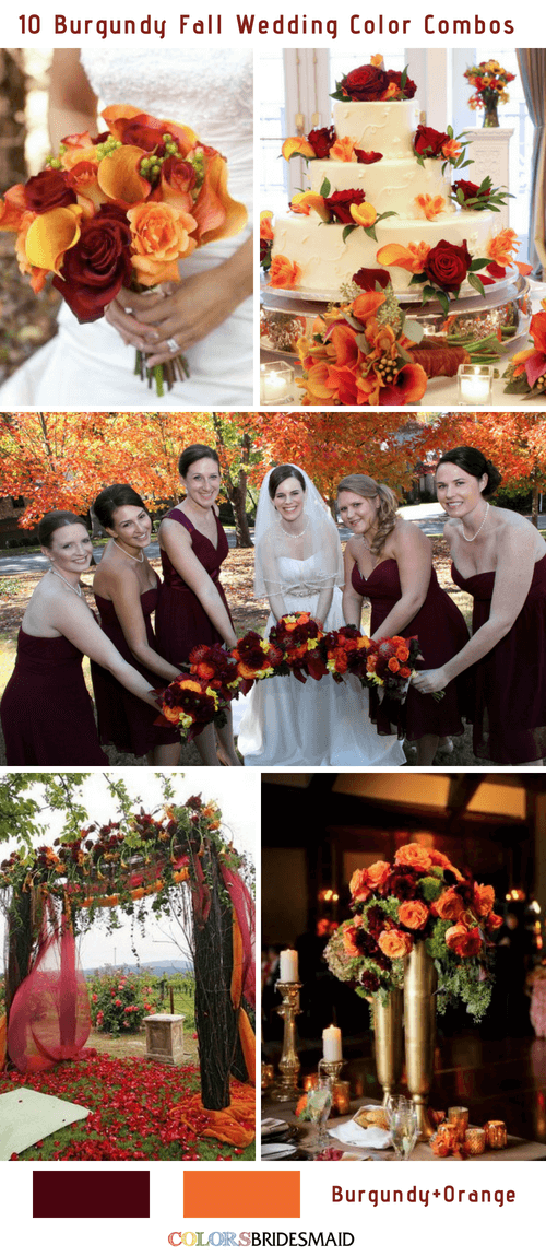 Bright Burgundy And Orange Fall Wedding Color Ideas Colorsbridesmaid