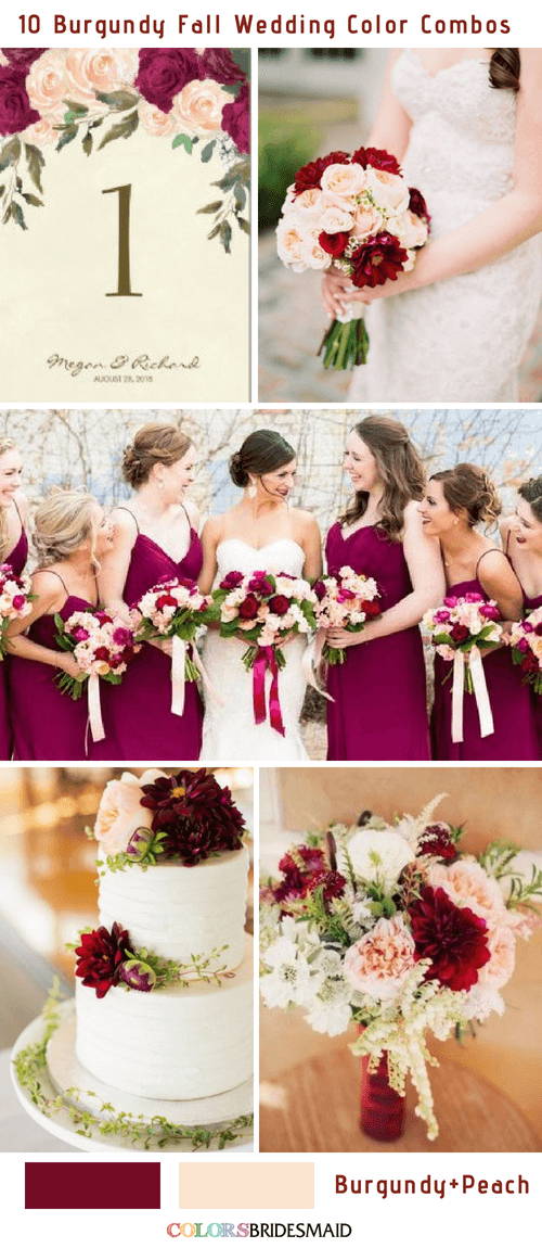 Fall wedding colors burgundy and peach