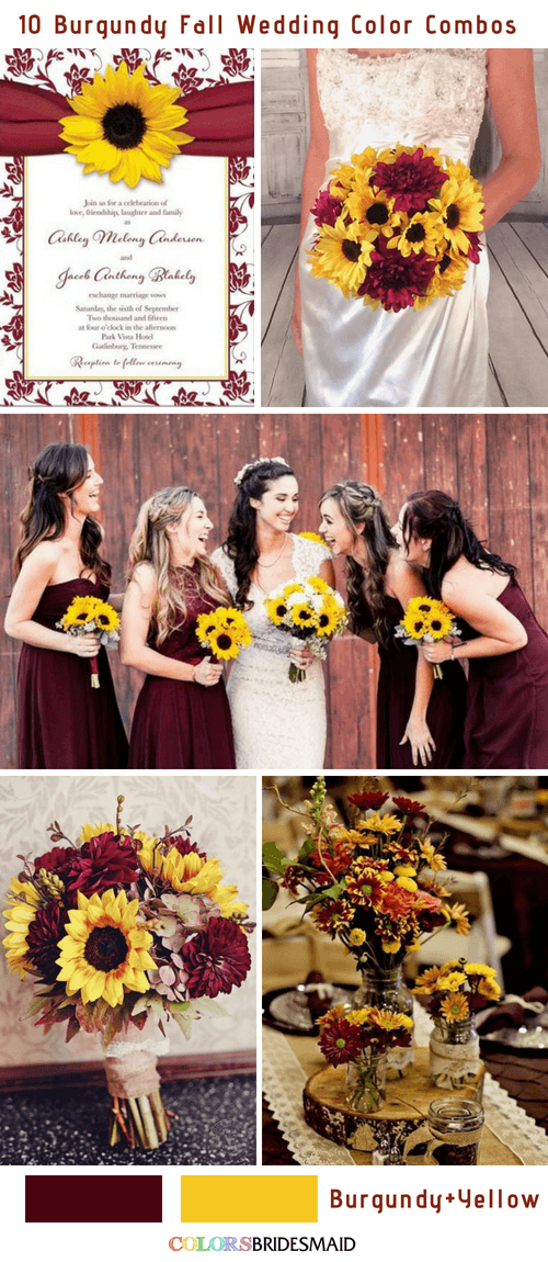 Fall wedding colors burgundy and yellow