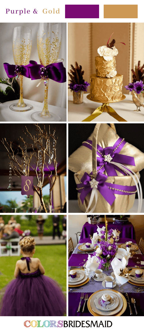 Fall Wedding Colors With Purple And Gold