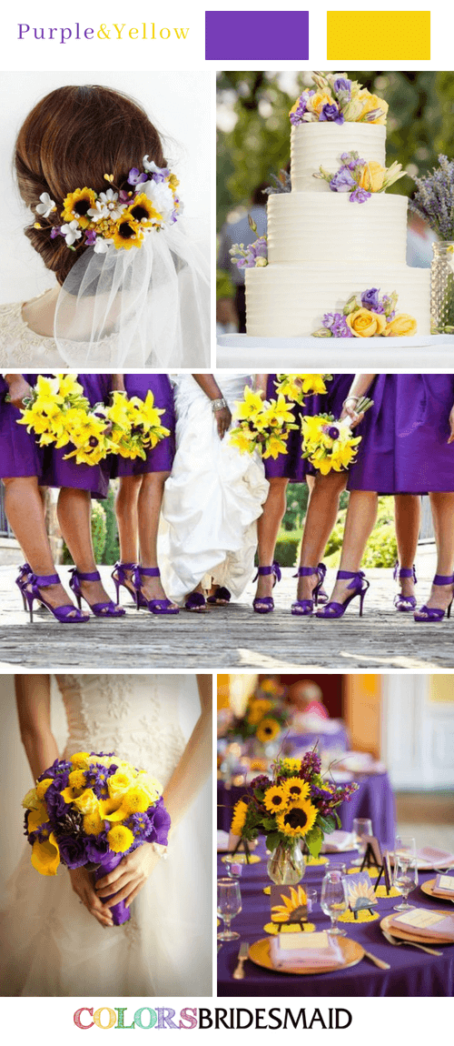 Fall wedding colors with purple and yellow