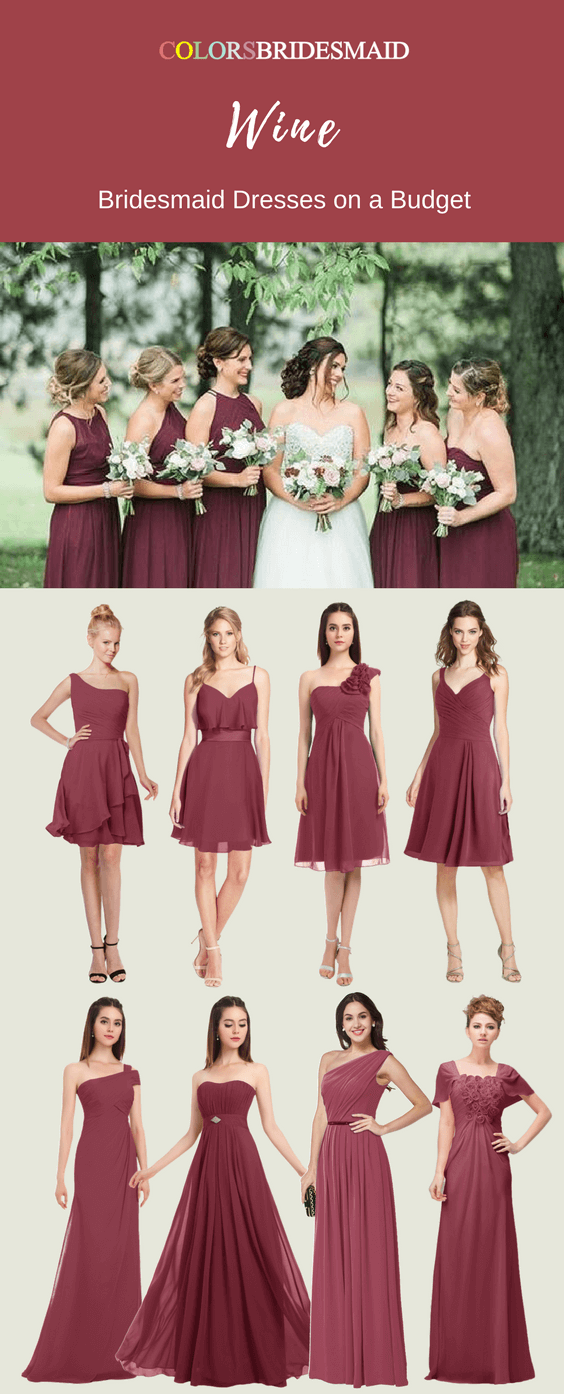 Great Bridesmaid Dresses In Wine Color At A Fall Wedding