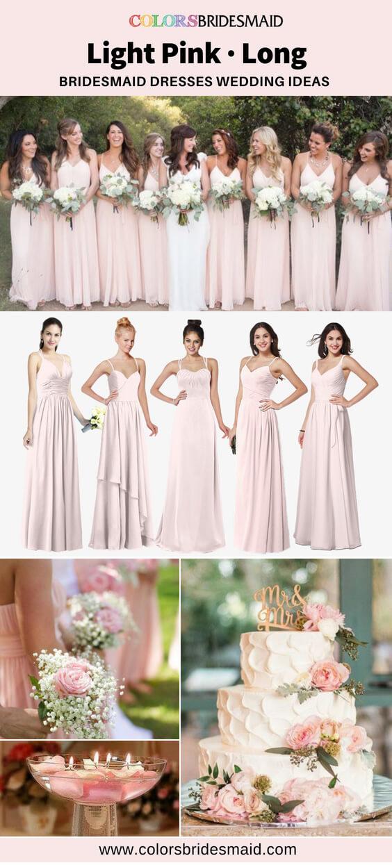 light pink long bridesmaid dresses
