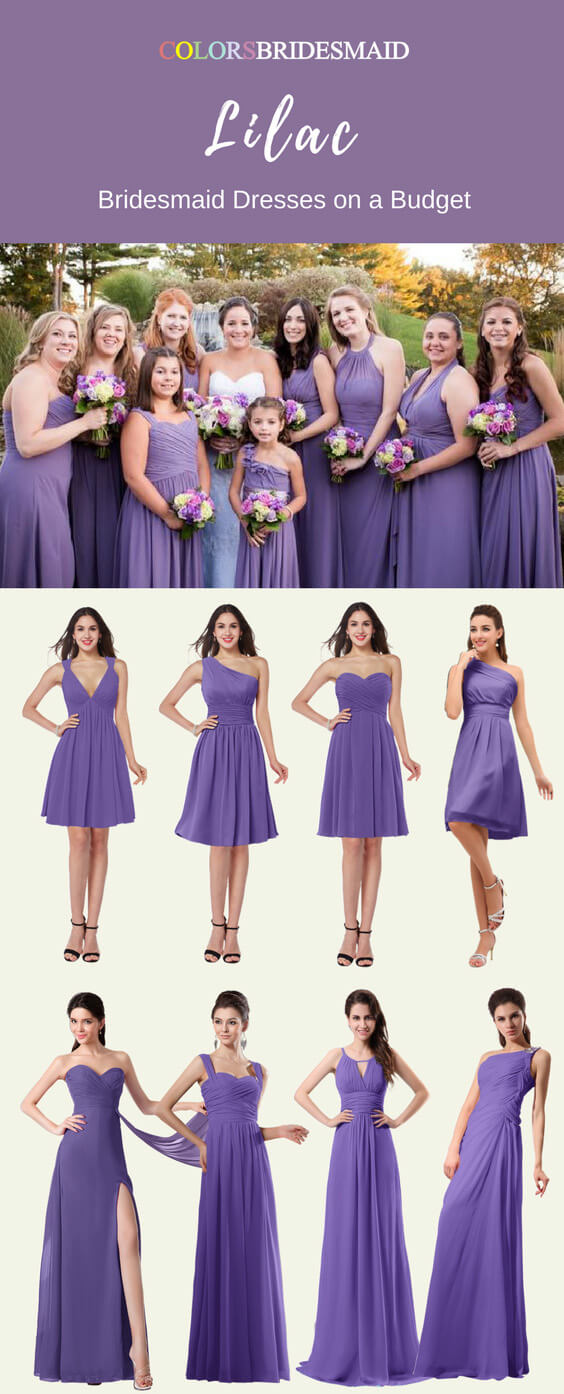Great Styles of Lilac Color Short and Long Bridesmaid Dresses
