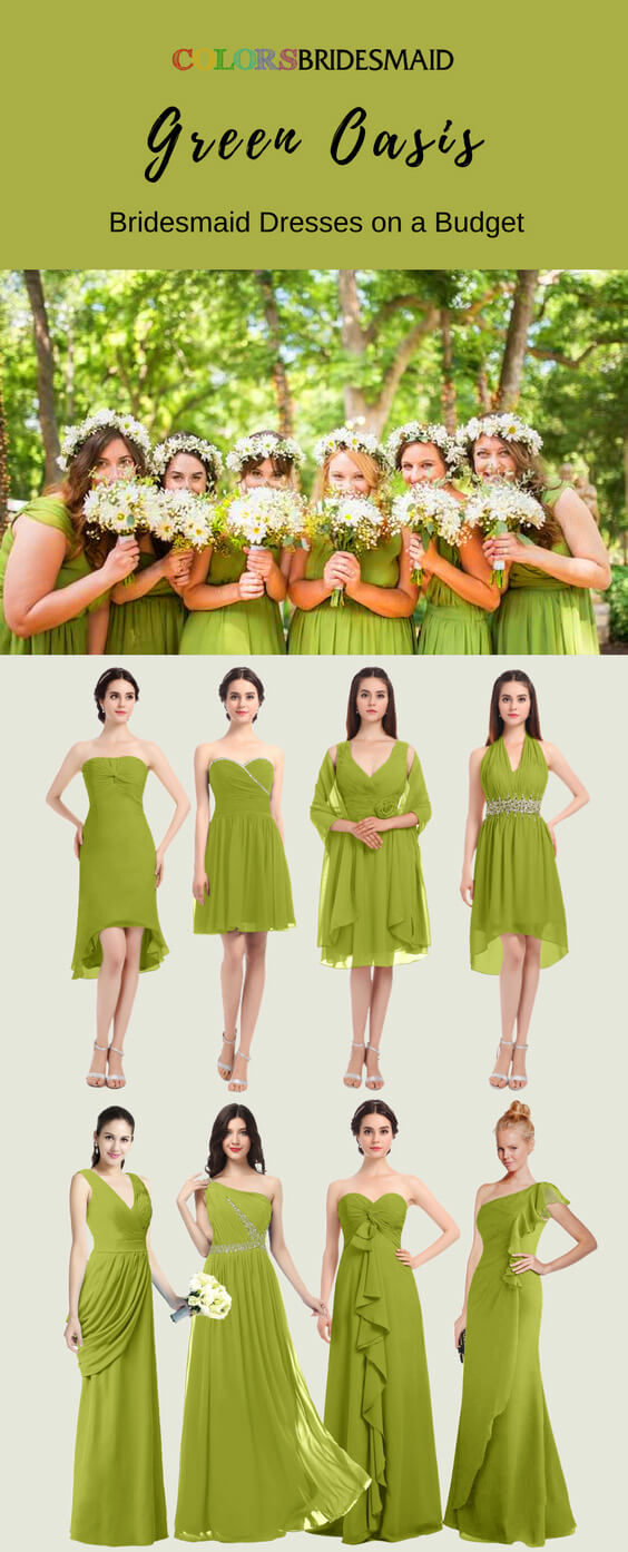 Green Oasis Bridesmaid Dresses In Knee Length And Floor Length