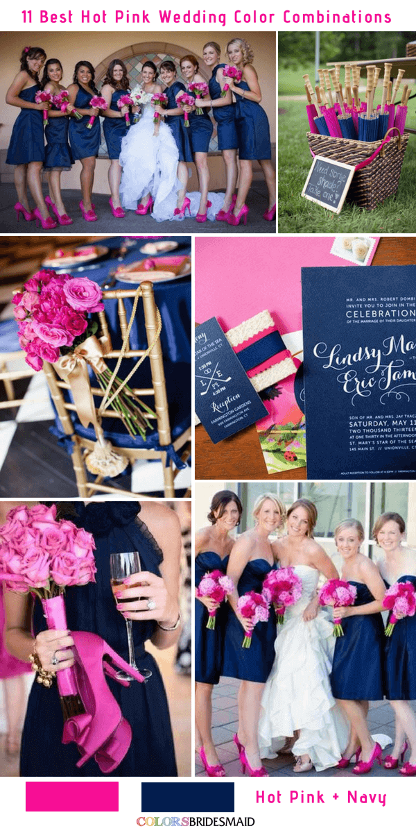 11 Best Hot Pink Wedding Color Combinations Ideas And Navy Blue