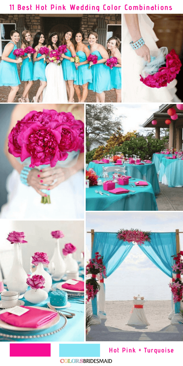 11 Best Hot Pink Wedding Color Combinations Ideas And Turquoise