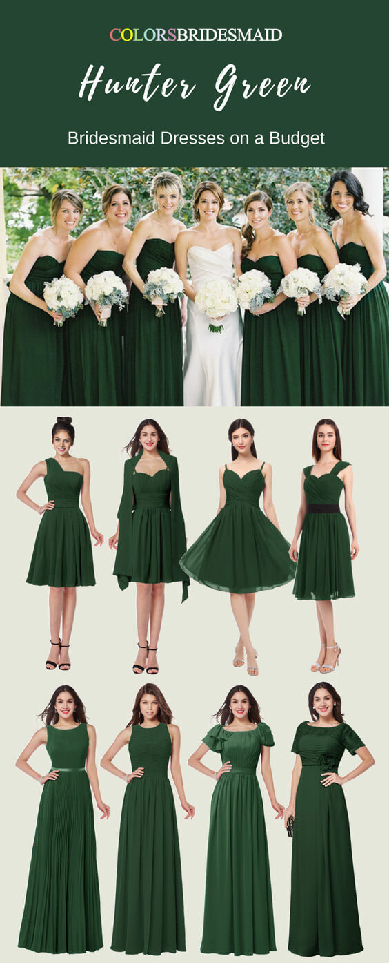 Hunter Green Color Bridesmaid Dresses with Stunning Styles