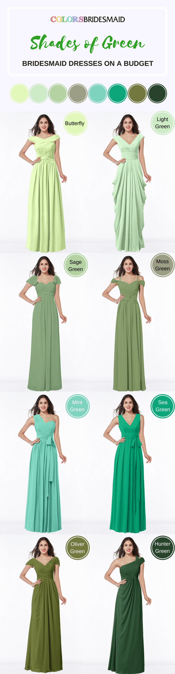 Long Bridesmaid Dresses in Different Green Color Shade