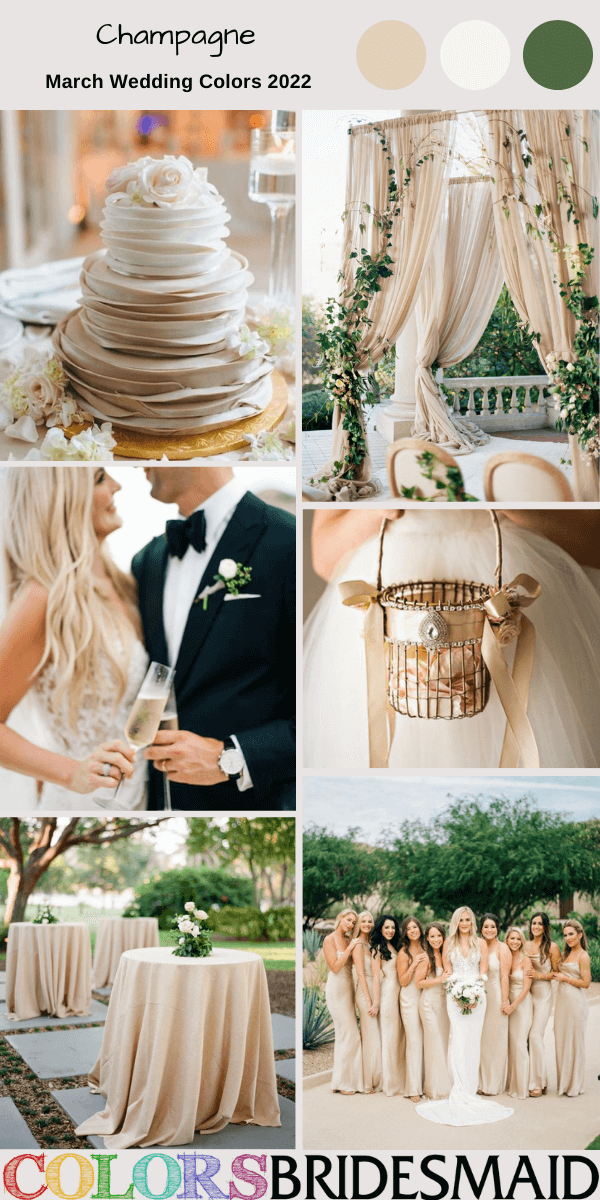 March Wedding Colors for 2022 Champagne